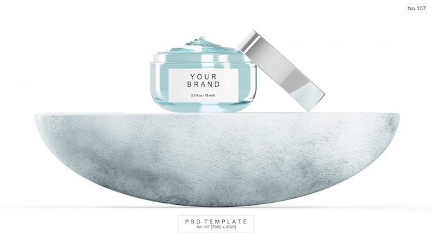 Blue gel beauty product with half round stone. 3d render Premium Psd