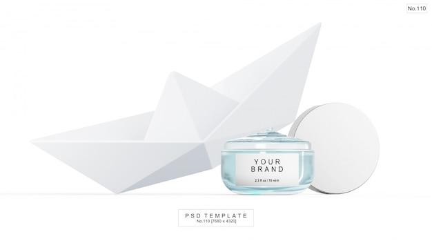 Синий гелевый косметический продукт с бумажным корабликом. 3d визуализация Premium Psd