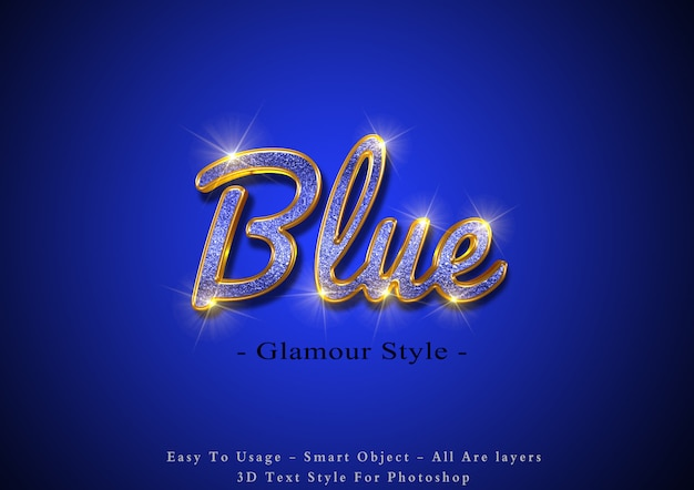 Синий гламур 3d текстовый эффект Premium Psd