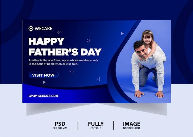 Blue gradient color father's day web banner design Premium Psd