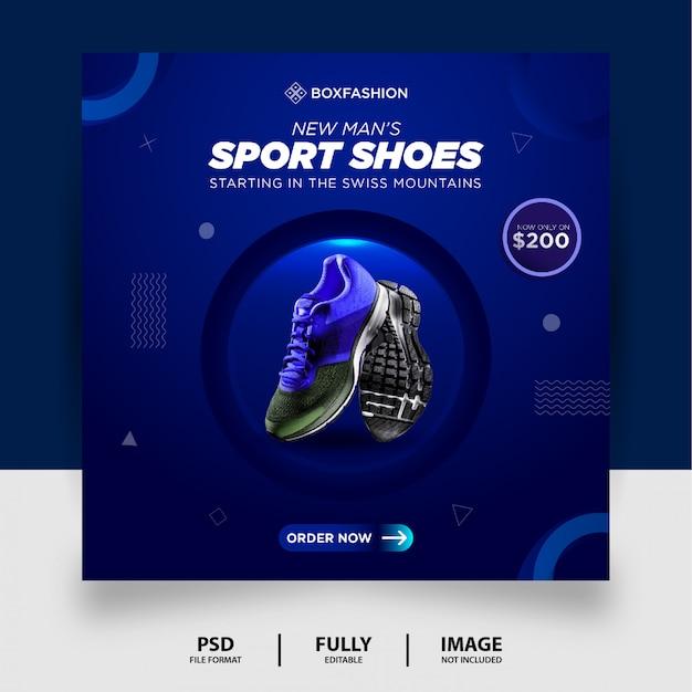 ブルーグラデーションカラースポーツシューズブランド製品ソーシャルメディアinstagramバナー Premium Psd