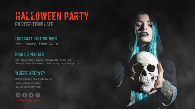 Blue haired girl holding a skull halloween party Free Psd