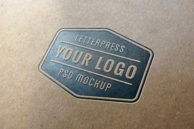 Blue letterpress logo mockup Free Psd