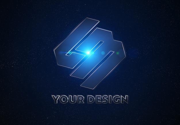 Blue metal logo in space mockup Premium Psd