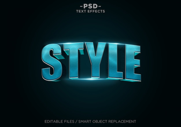 Blue metal style effects editable text Premium Psd