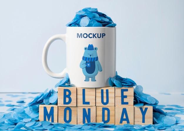Concetto di lunedì blu con mock-up Psd Gratuite