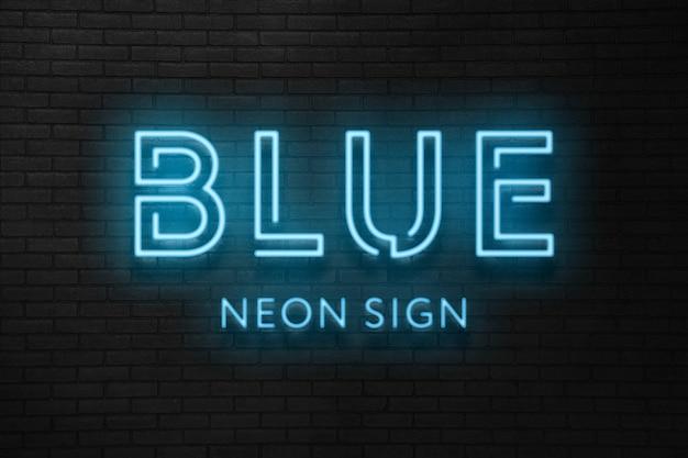 Эффект синего неонового света Premium Psd