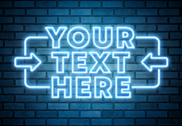 Blue neon text on brick wall mockup Premium Psd
