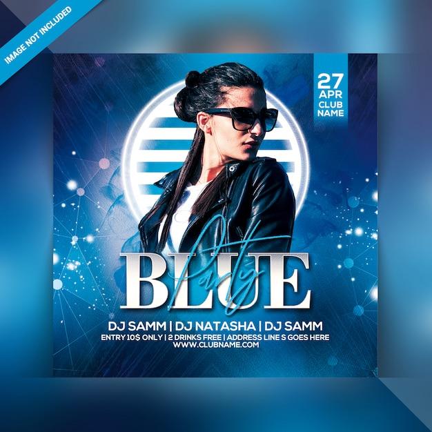 Blue party flyer Premium Psd