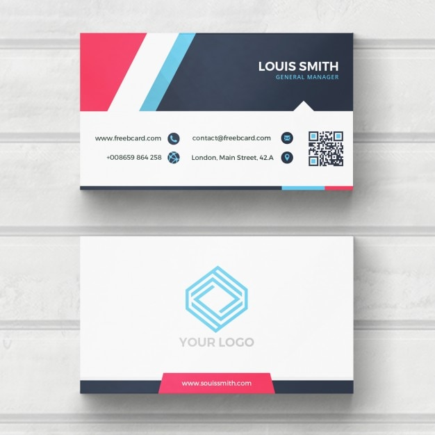 Blue, red, and white business card Free Psd
