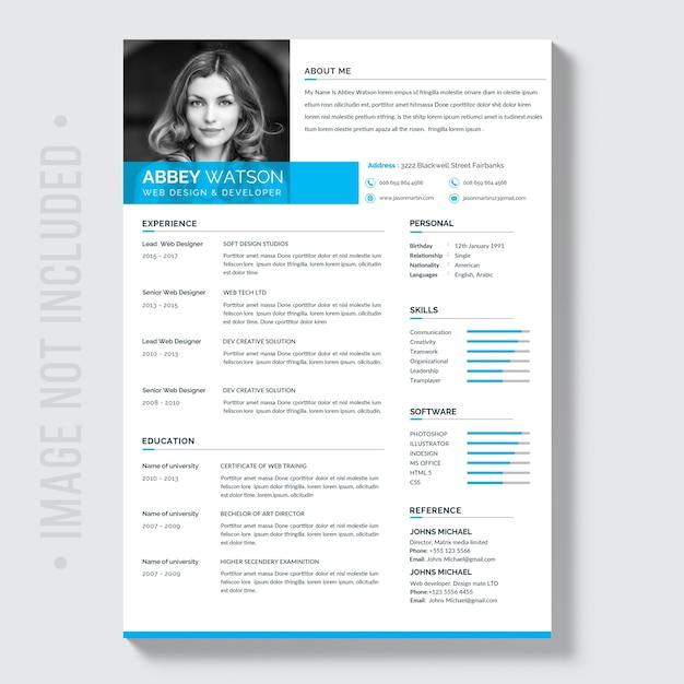 Blue Resume Mockup Premium Psd