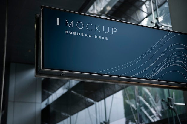 Blue signboard mockup in a mall Premium Psd