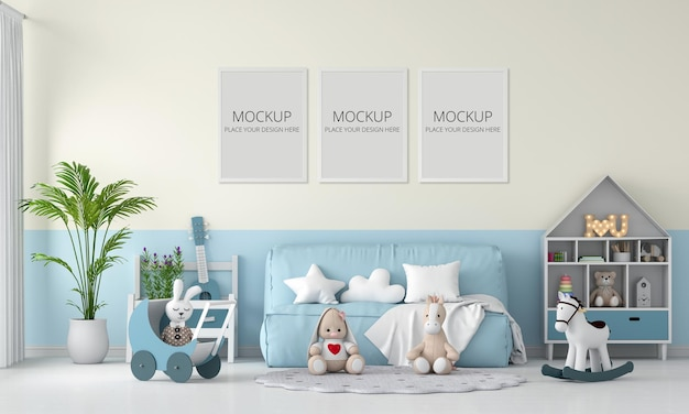 Blue sofa and doll in child room with frame Premium Psd