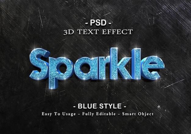 블루 스파클 텍스트 효과 템플릿 프리미엄 PSD 파일
