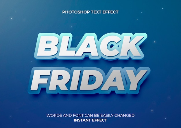 Blue style text effect black friday Free Psd