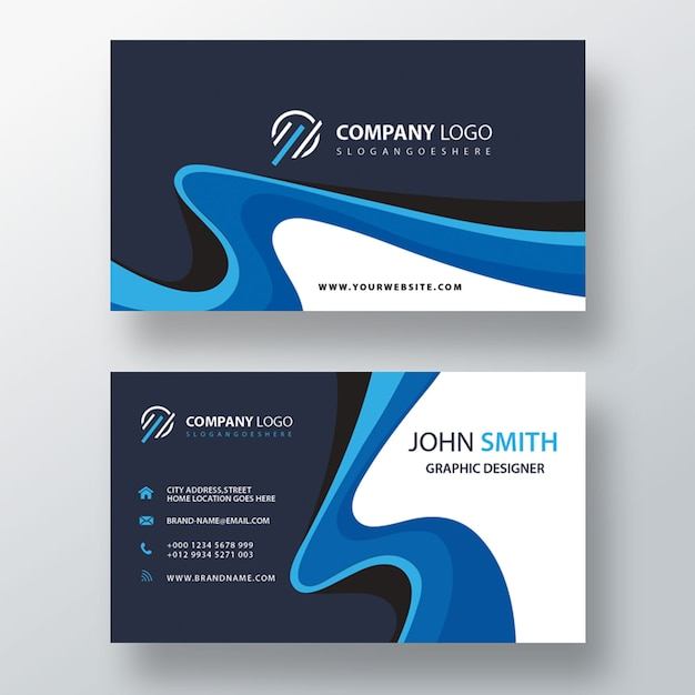 Blue swirl professional business card Free Psd