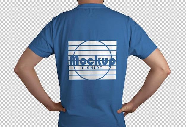 Blue t shirt back view mockup Free Psd
