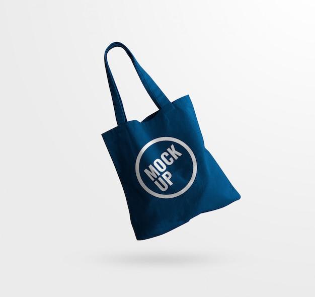 Blue tote bag canvas texture mockup Premium Psd