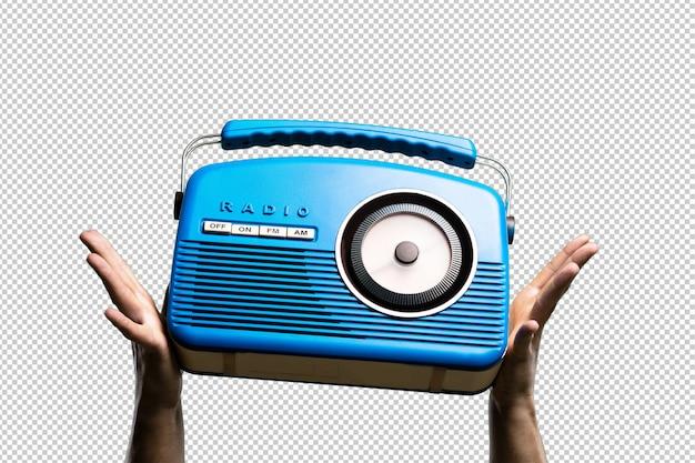 Blue vintage radio isolated Premium Psd