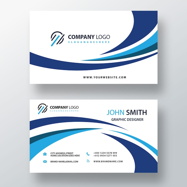Blue visit card template Free Psd