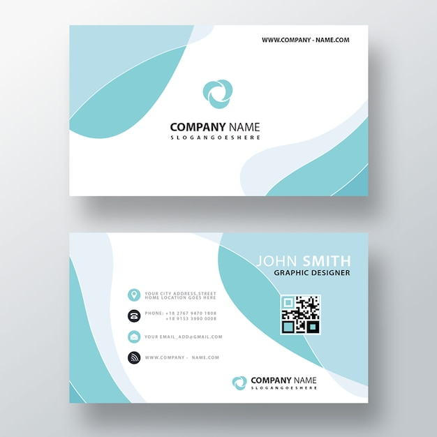 Blue wavy abstract business card Free Psd