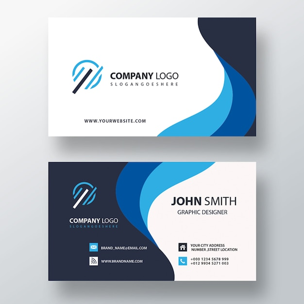 Blue wavy business card Free Psd