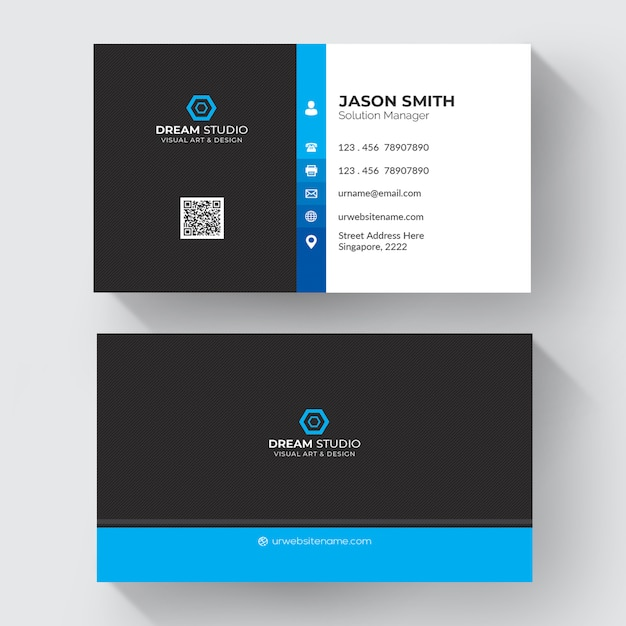 Blue and white business card Free Psd