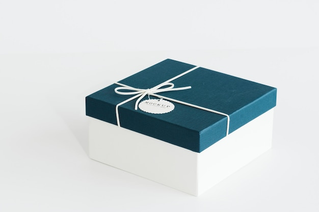 Blue and white gift box mockup Free Psd