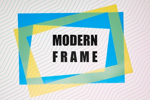 Blue and yellow modern frames mock-up Free Psd
