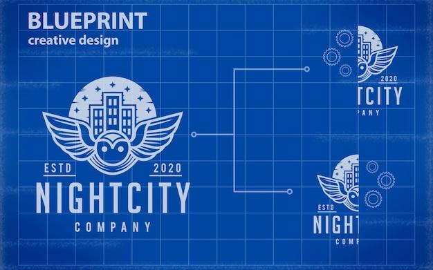 Blueprint logo mockup Premium Psd