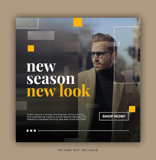 Blurred yellow rectangle modern dynamic clean simple instagram post template or square banner Premium Psd