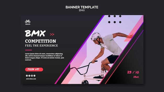 Bmx competition banner template design Free Psd