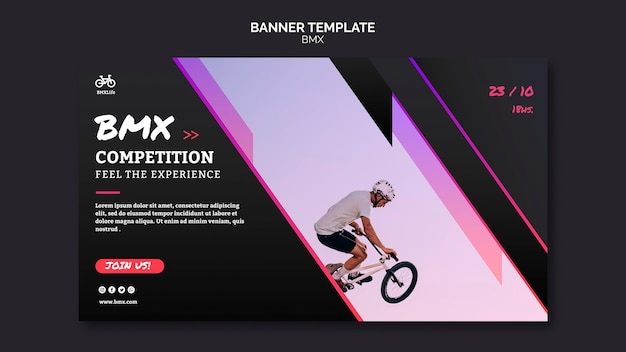 Bmx competition banner template style Free Psd
