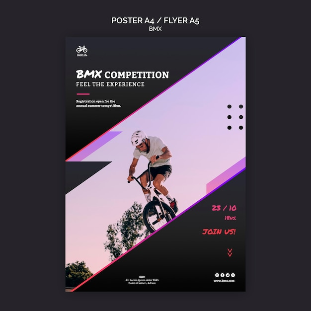 Bmx competition flyer template design Free Psd