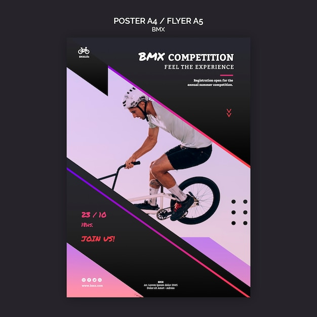 Bmx competition poster template style Free Psd