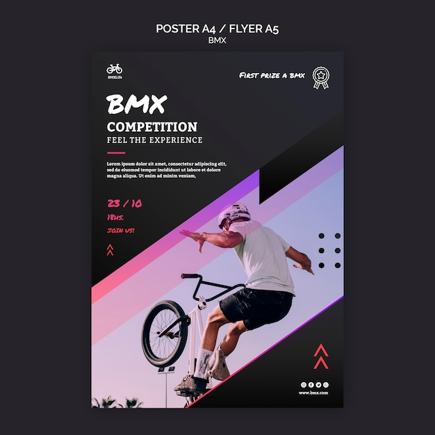 Bmx competition poster template Free Psd