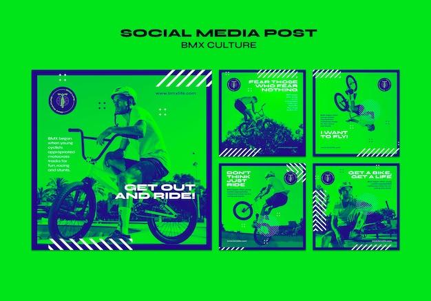 Bmx culture concept social media post template Free Psd