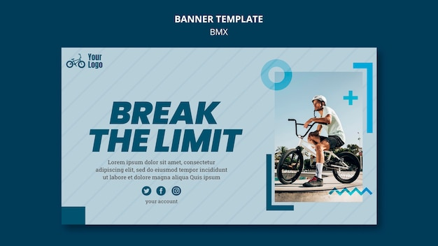 Bmx shop banner template Free Psd