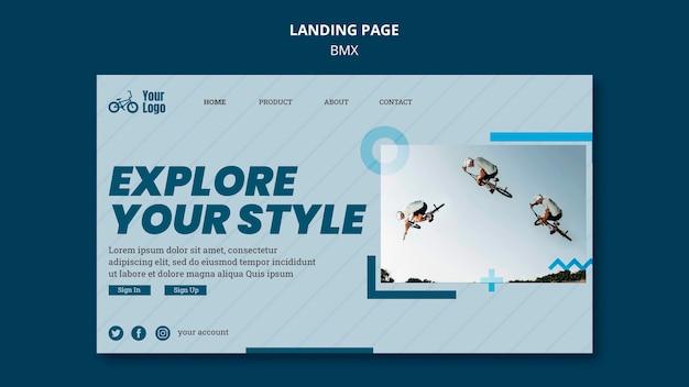 Bmx shop landing page template Free Psd