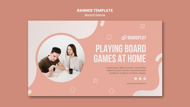 Board game concept banner template Free Psd