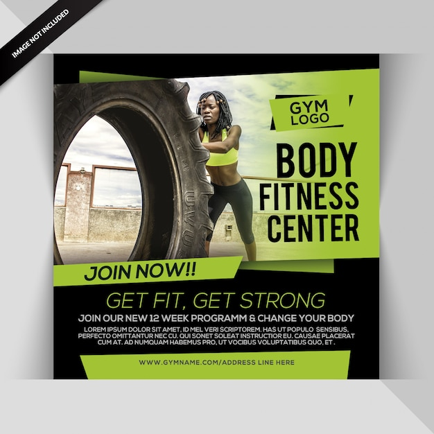 Body fitness instagram post or square flyer template Premium Psd