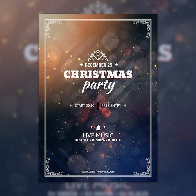 Bokehクリスマスパーティーポスターモックアップ 無料 Psd