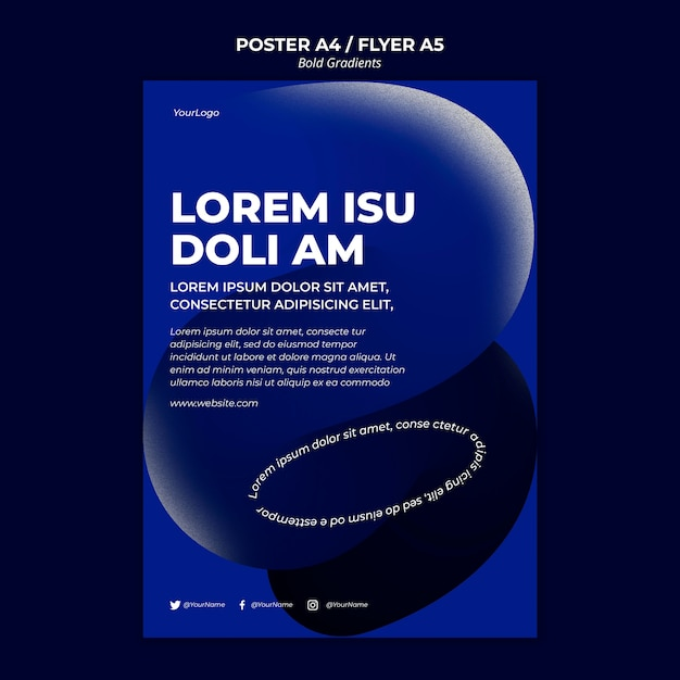 Bold gradients poster template Free Psd
