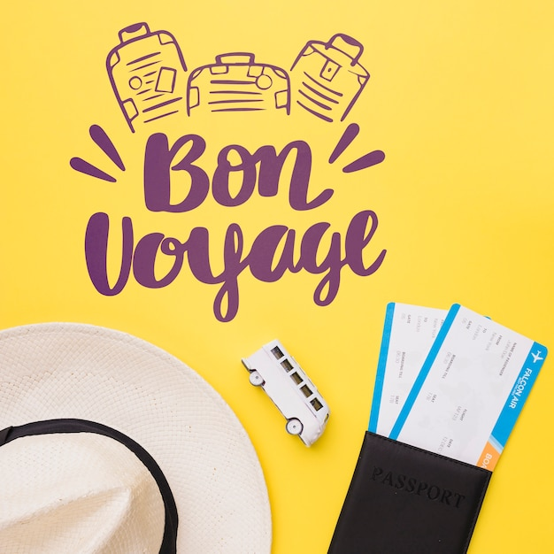 Bon voyage, lettering with van, passport and hat Free Psd