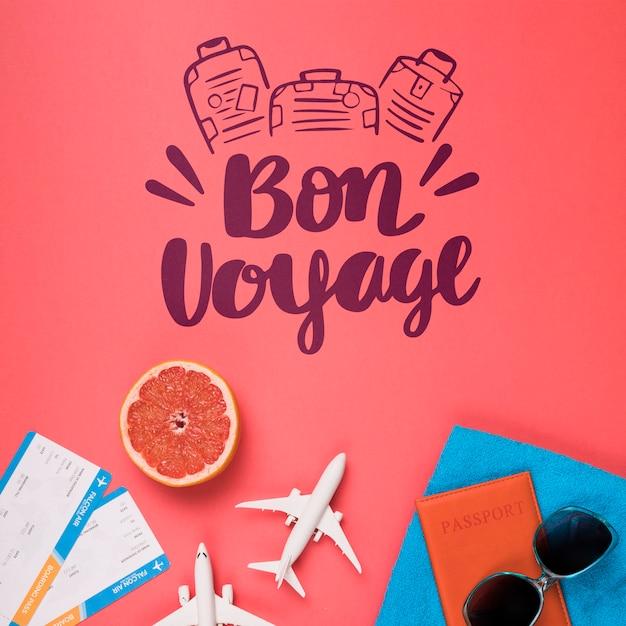 Bon voyage. motivational lettering quote for holidays traveling concept Free Psd
