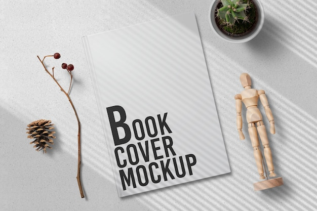 Изолированный дизайн макета обложки книги Premium Psd