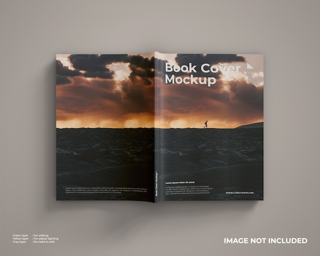 Book cover mockup looks top view Premium Psd