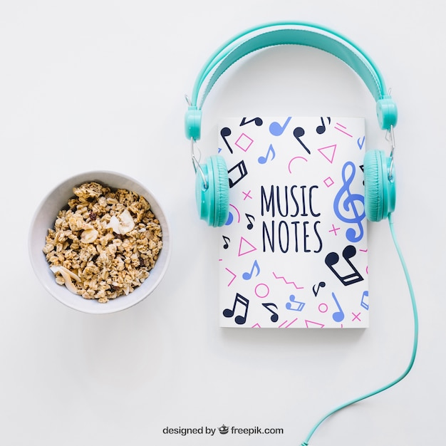 book cover template with headphones and cereals psd file free download