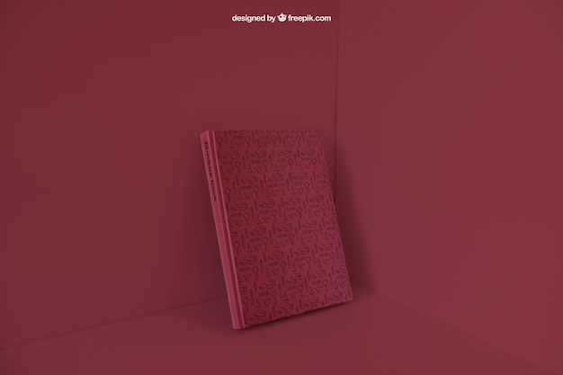 Book leaning in corner with red color effect Free Psd & Book leaning in corner with red color effect PSD file | Free Download