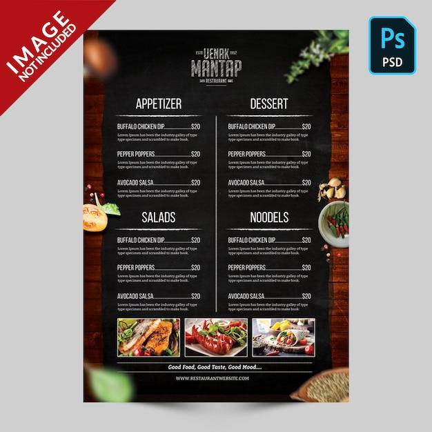 Book menu template side b Premium Psd